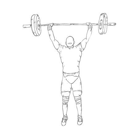 man lifting weights: weightlifter man lifting weights up. drawn design. vector illustration