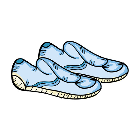 swimming shoes: water shoes pair. swimming equipment.  drawn design vector illustration
