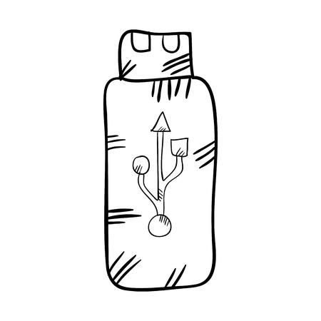 storage device: usb flash drive. data storage device. drawn design vector illustration