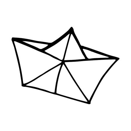 origami paper ship boat. drawn design. vector illustration