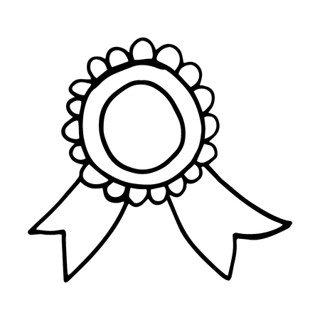 badge with ribbon. quality stamp drawn design. vector illustration