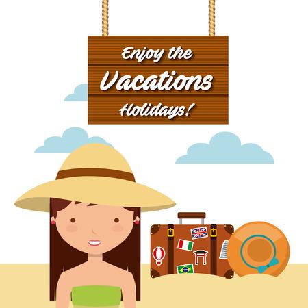 enjoy: enjoy the vacations holidays vector illustration design