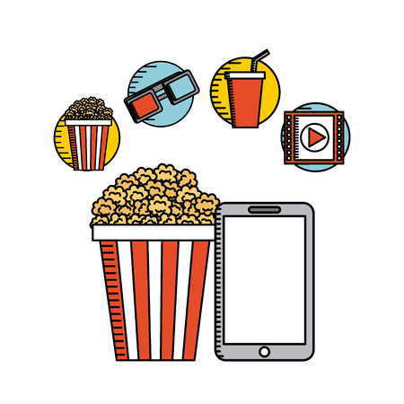 movie online flat line icons vector illustration design