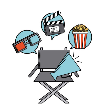 movie cinema flat line icon vector illustration design Illustration