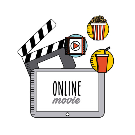 movie online flat line icons vector illustration design