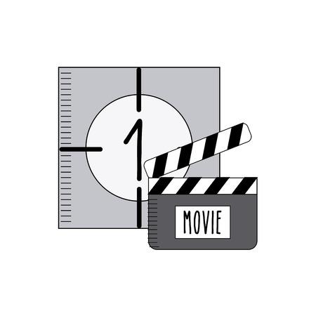 cinematographic: counter cinematographic with cinema icon vector illustration design