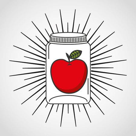 mason: canned fruit in mason jar vector illustration design Illustration