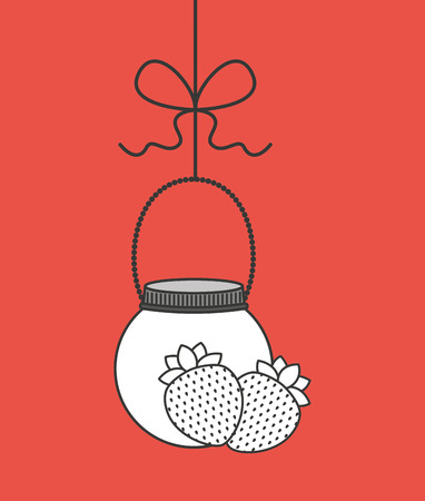 canned fruit in mason jar vector illustration design Illustration