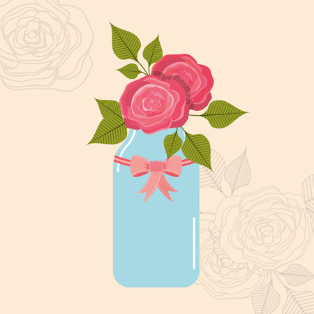 mason: beautiful mason jar with floral decoration vector illustration design Illustration