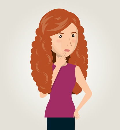 red hair: woman cartoon idea think creativity design vector illustration Illustration