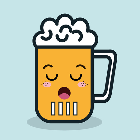 resentment: glass beer cartoon facial expression isolated icon design, vector illustration  graphic