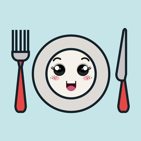 Cartoon Platte Gabel und Messer mit Gesichtsausdruck isoliert Icon Design, Vektor-Illustration Grafik Standard-Bild - 62708604