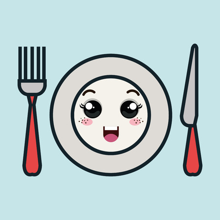 cartoon plate fork and knife with facial expression isolated icon design, vector illustration  graphic