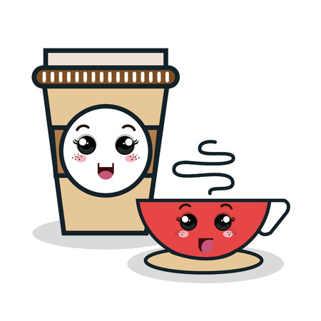 cup coffee plastic facial expression isolated icon design, vector illustration  graphic Illustration