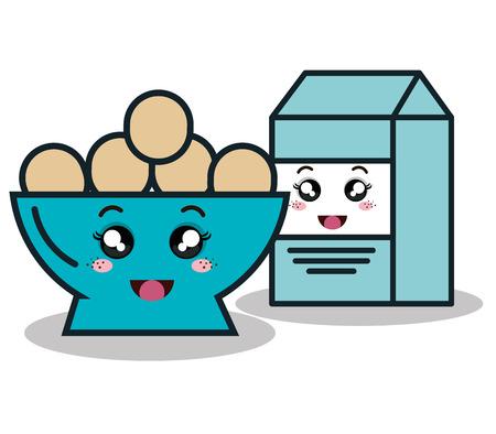 bowl full eggs with box milk cartoon isolated icon design, vector illustration  graphic