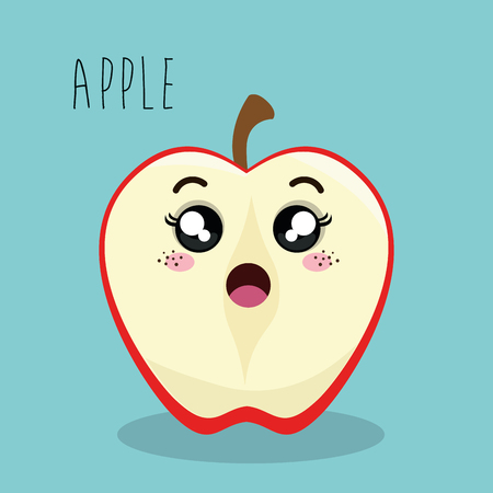 esp: cartoon apple slice fruit facial expression design isolated vector illustration esp 10