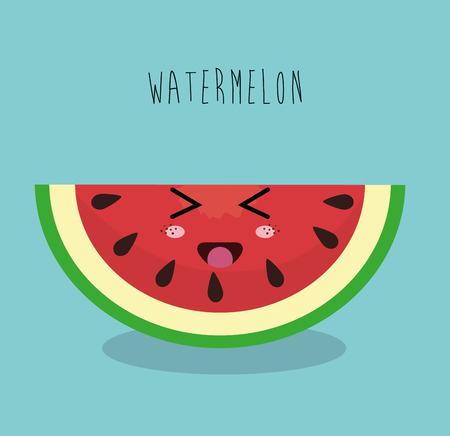 sliced fruit: cartoon watermelon sliced fruit facial expression design isolated vector illustration esp 10