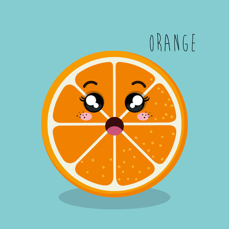 esp: cartoon orange sliced fruit facial expression design isolated vector illustration esp 10