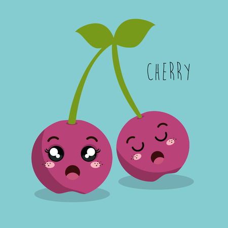 esp: cartoon cherry fruit facial expression design isolated vector illustration esp 10