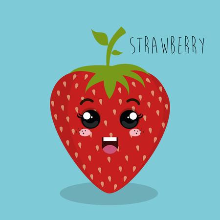 esp: cartoon strawberry fruit facial expression design isolated vector illustration esp 10
