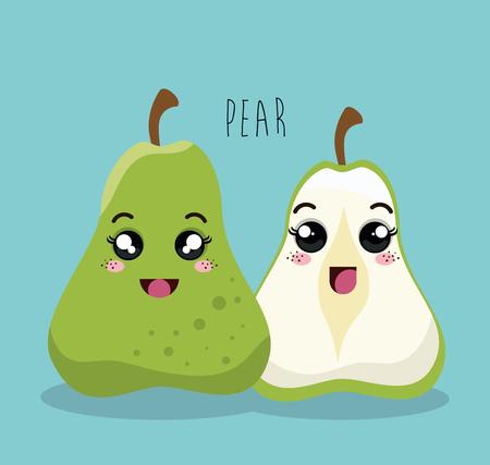 esp: cartoon pear fruit facial expression design isolated vector illustration esp 10 Illustration