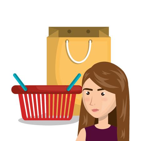 gift basket: cartoon woman basket red bag gift e-commerce isolated design, vector illustration  graphic Illustration