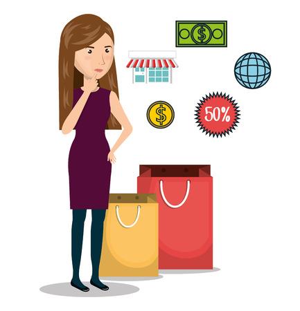 cartoon vrouw e-commerce geïsoleerd ontwerp, vector illustratie afbeelding