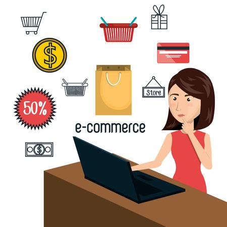 woman laptop: cartoon woman laptop e-commerce isolated design, vector illustration  graphic Illustration