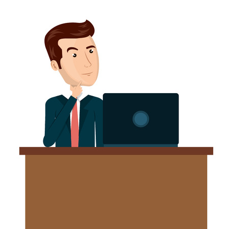 man with laptop: cartoon man laptop desk e-commerce isolated design, vector illustration  graphic