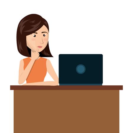woman laptop: cartoon woman laptop desk e-commerce isolated design, vector illustration  graphic Illustration