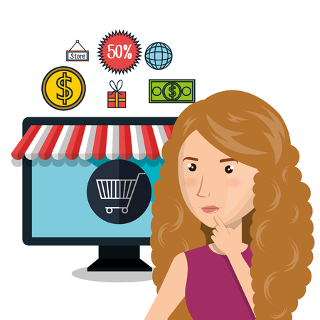 cartoon woman e-commerce store isolated design, vector illustration graphic