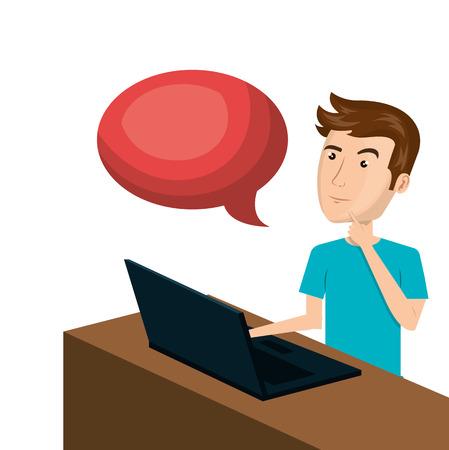 cartoon man e-commerce laptop desk speech bubble isolated design, vector illustration graphic