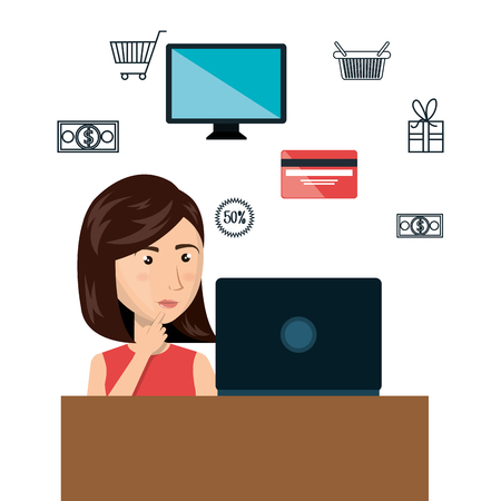 credit card business woman: cartoon woman e-commerce laptop desk isolated design, vector illustration  graphic Illustration
