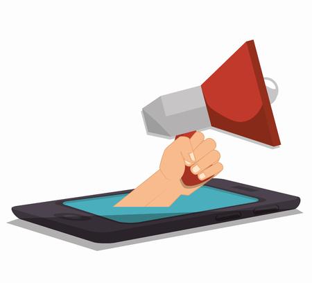megaphone smartpthone hand social media isolated design, vector illustration graphic