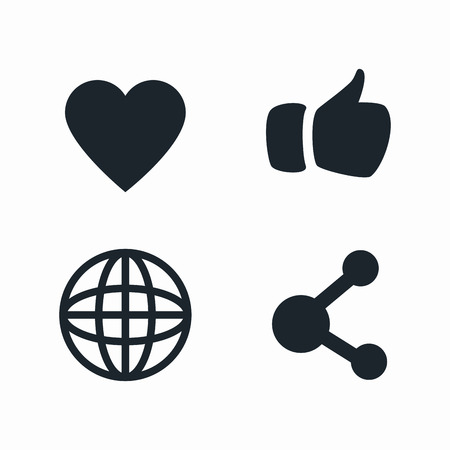 design media love: set social media isolated design, vector illustration graphic