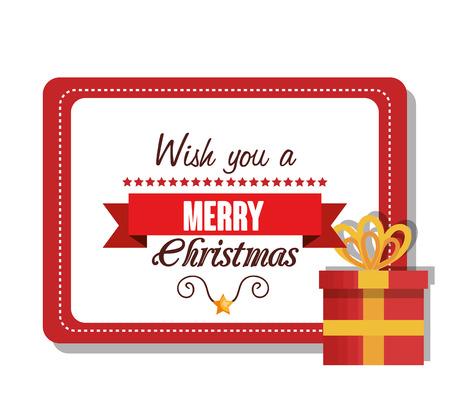 postcard design: postcard and box gift merry christmas design vector illustration