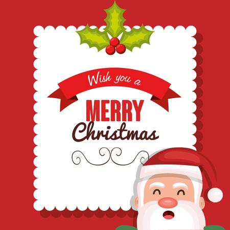 postcard design: postcard santa merry christmas design vector illustration