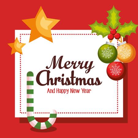 holly day: card merry christmas balls cane start design vector illustration Illustration