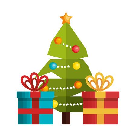 postcard box: tree and box gift merry christmas design vector illustration eps 10