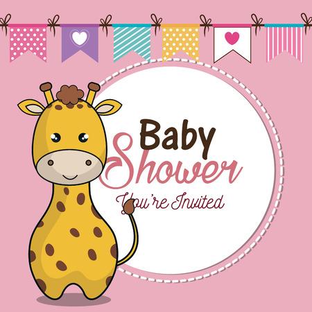 desing: invitation baby shower card with giraffe desing vector illustration eps 10
