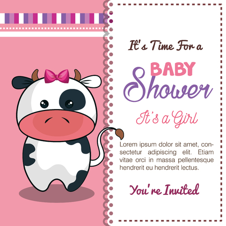 special moments: invitation baby shower card with cow desing vector illustration eps 10