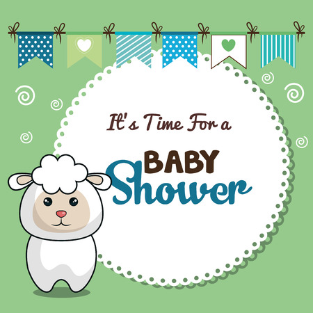 baby blue: invitation baby shower card with sheep desing vector illustration eps 10