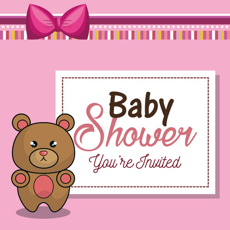 desing: invitation baby shower card pink with bear desing vector illustration eps 10 Illustration