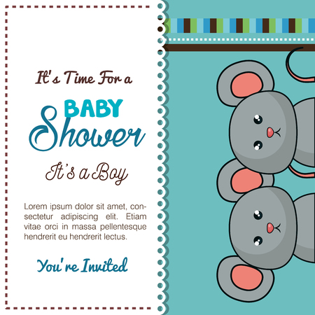 newborn rat: baby shower card mice twins design vector illustration