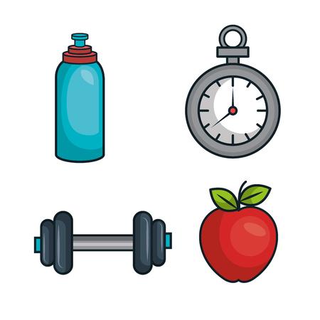 muscle fiber: kit elements sport gym design vector illustration