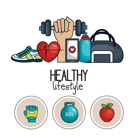 healthy lifestyle concept icons sport design vector illustration