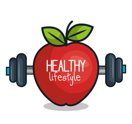 healthy lifestyle apple and barbell design vector illustration