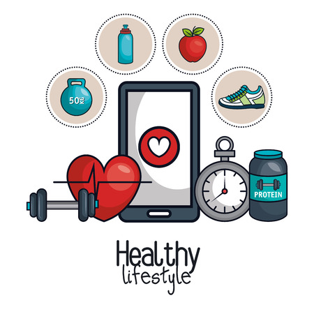 healthy lifestyle element concept design vector illustration