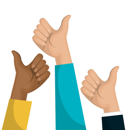 symbol hand like multicultural team design vector Illustration