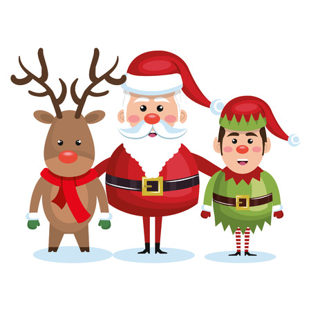 santa claus reindeer and elf christmas vector illustration